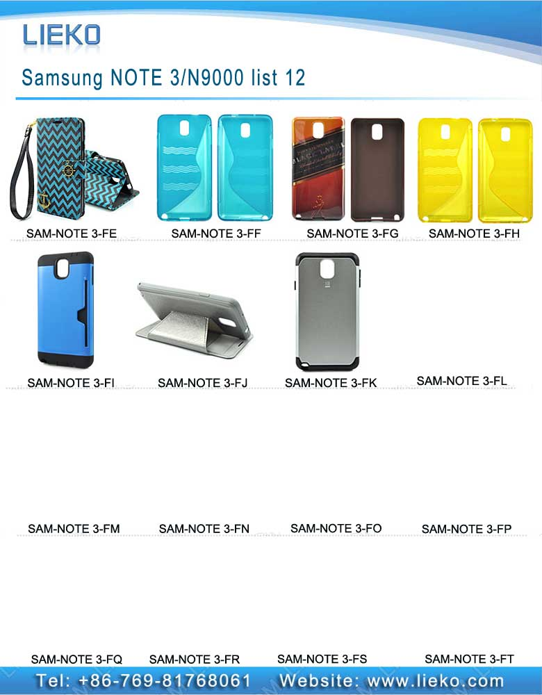 Samsung NOTE 3 case list 12|Index Products|